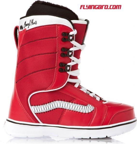 фото сноубордических ботинок красного цвета для сноуборда и сноубординга