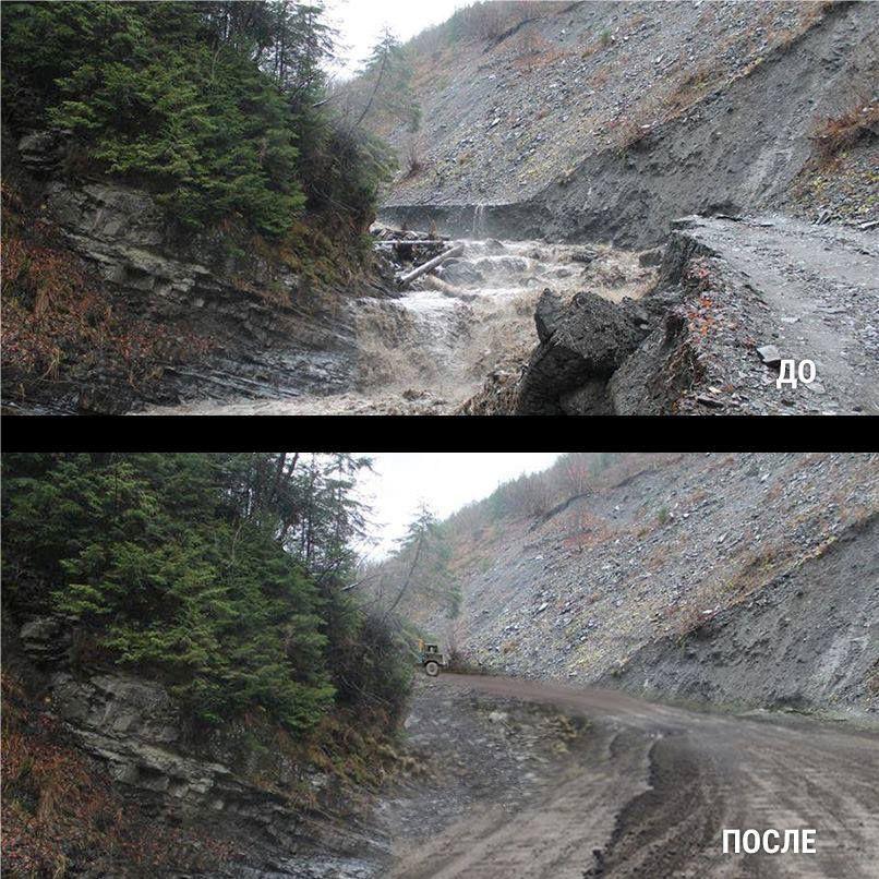 Многострадальная дорога на Драгобрат в Карпатах
